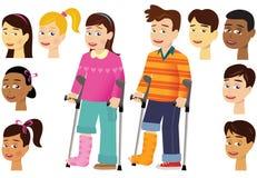 Barn med bengipsförband stock illustrationer