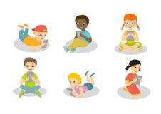 Barn med datorer stock illustrationer