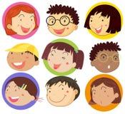 Barn med den lyckliga framsidan på runda emblem stock illustrationer