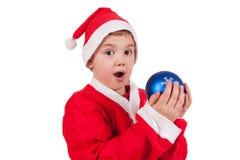 Barn med den Santa hatten royaltyfri foto