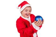Barn med den Santa hatten fotografering för bildbyråer