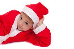 Barn med den Santa hatten royaltyfria bilder