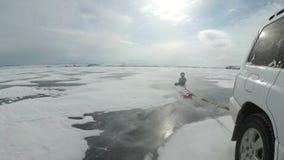 Barn med deras fader rider på det plast- is-fartyget som binds till en bil Denna är ytterligheten, farligt och olagligt De är rol stock video
