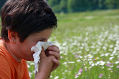 Barn med en allergi till pollen, medan du blåser din näsa med a arkivfoto