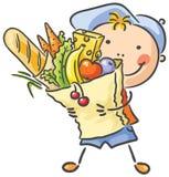 Barn med en stor påse som är full av mat royaltyfri illustrationer
