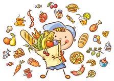 Barn med en stor påse som är full av mat och isolerad matuppsättning stock illustrationer