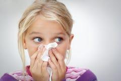 Barn med förkylning Royaltyfri Foto
