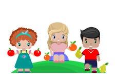 Barn med frukter stock illustrationer