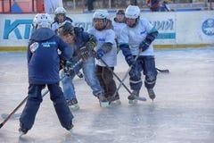 Barn med hockeypinnar som spelar hockey på festivalen royaltyfria foton