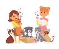 Barn med husdjur adopterar illustrationen för kamratskapbegreppsvektorn Adoption för katt för förälskelsebarn royaltyfri bild