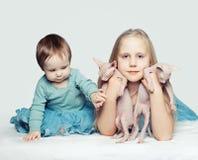Barn med husdjur Härliga små flickor med kattungar Royaltyfria Bilder