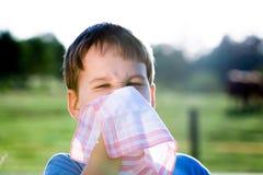 Barn med näsduken i natur Arkivfoton