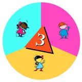 Barn med nummer tre royaltyfri illustrationer