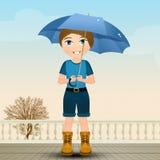 Barn med paraplyet i regnet royaltyfri illustrationer