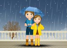 Barn med paraplyet i regnet stock illustrationer