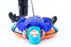 Barn med snöröret Fotografering för Bildbyråer