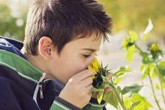 Barn med solrosen Royaltyfri Bild