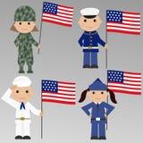 Barn med USA den militära likformign Arkivfoto