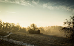 Barn in the mist. In the UK Europe Royalty Free Stock Image