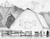 Barn Mountains Drawing Stock Image