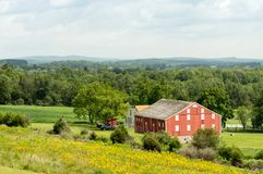 Barn in the Valley as Seen from Hilltop stock photos