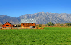 Barn in Nevada. Flat lands royalty free stock image