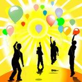 Barn och ballonger Royaltyfria Bilder