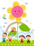 Barn och blomma Arkivfoto