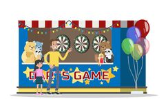 Barn och deras föräldrar har gyckel i parkera och spelar pilar royaltyfri illustrationer