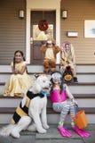 Barn och hund i allhelgonaaftondräkter för trick eller behandling arkivbild