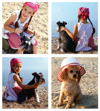 Barn och hundkapplöpning royaltyfri foto