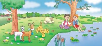 Barn och lantgårddjur på ängen Royaltyfri Bild
