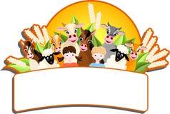 Barn och lyckliga lantgårddjur Fotografering för Bildbyråer
