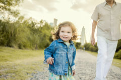 Barn och man Arkivfoto