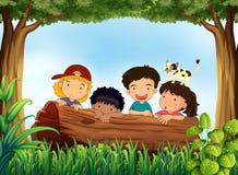 Barn och skog royaltyfri illustrationer