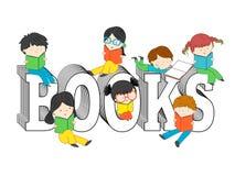 Barn och ungar som läser och sitter på böcker, smsar stock illustrationer