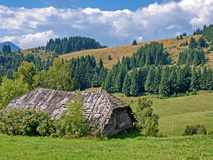 Barn. A old traditional barn from Moieciu de Sus Stock Photo