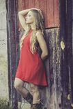Barn, Old, Weathered, Girl, Country Royalty Free Stock Photography