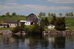 Barn on one from Thousands Islands Ontario Stock Image