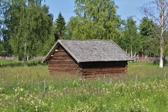Barn. At the open-air museum Hägnan in Gammelstad Stock Images