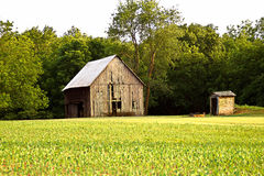 Barn and out house. Beautiful Barn and outhouse in the trees Stock Images