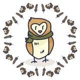 Barn owl cartoon vector illustration motif set. Hand drawn isolated woodland bird egg. Nest elements clipart for nature blog, wildlife graphic, forest bird web vector illustration