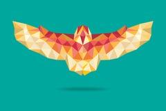 Barn owl flying geometric absract green background Stock Image