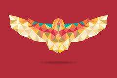 Barn owl flying geometric absract red background Royalty Free Stock Image