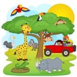 Barn på en safari turnerar stock illustrationer