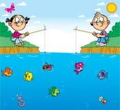 Barn på fiske royaltyfri illustrationer