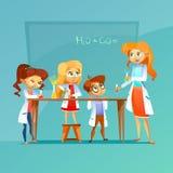 Barn på illustrationen för vektorn för kemigrupp av elever och läraren med kemisk formel på svart tavlatecknad film planlägger royaltyfri illustrationer