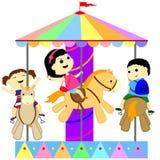 Barn på karusellen Royaltyfri Bild