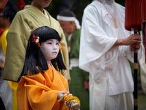 Barn på Kitano Tenmangu Shrine Arkivbilder
