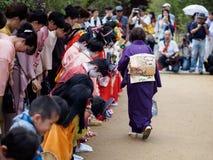 Barn på Kitano Tenmangu Shrine Royaltyfri Foto